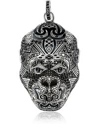 Thomas Sabo - Blackened Sterling Silver Monkey God Pendant W/black Zirconia And Onyx - Lyst