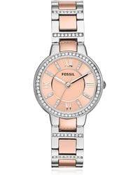 Fossil - Virginia Two Tone Stainless Steel Women's Watch W/crystals - Lyst