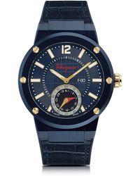 Ferragamo - Reloj para Hombres F-80 Motion de Acero Inoxidable Azul y Correa de Cuero - Lyst