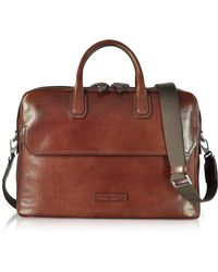 The Bridge - Williamsburg Brown Leather Large Briefcase W/shoulder Strap - Lyst