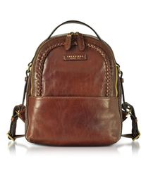 The Bridge - Murakami Leather Backpack W/woven Trim - Lyst