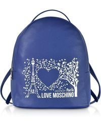 Love Moschino - Blue Faux Leather Backpack - Lyst