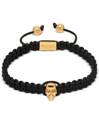 Northskull - Atticus Skull Macramé Bracelet In Black And Yellow Gold - Lyst