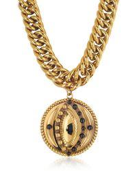 Roberto Cavalli - Antique Goldtone Metal Choker W/lucky Eye Coin Pendant - Lyst