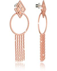 Rebecca - Melrose Rose Gold Over Bronze Drop Hoop Earrings W/chain Fringes - Lyst