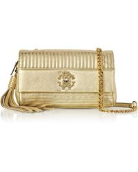 Roberto Cavalli - Platinum Gold Laminated Quilted Nappa Leather Small Shoulder Bag - Lyst