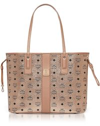 MCM - Reversible Liz Medium Shopper In Visetos (white) Handbags - Lyst