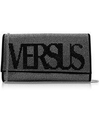 Versus - Vintage Logo Envelope Crystals And Suede Clutch - Lyst