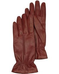 FORZIERI - Burgundy Leather Women's Gloves W/wool Lining - Lyst