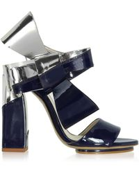 Delpozo - Silver And Navy Blue Patent Leather Bow Sandals - Lyst