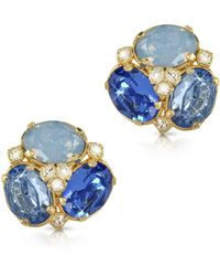FORZIERI - Blue Crystal Clip-on Earrings - Lyst