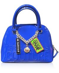 Versace Jeans Embossed Logo Top Handle Bag W/ Charms - Blue
