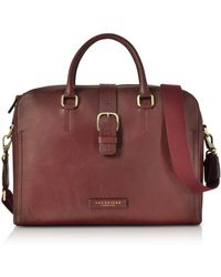 The Bridge - Burgundy Leather Double Handle Briefcase W/detachable Shoulder Strap - Lyst