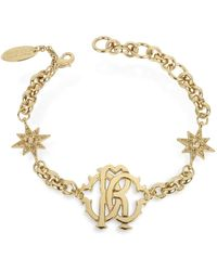 Roberto Cavalli - Rc Icon Golden Metal Bracelet W/stars - Lyst