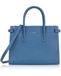 Furla - Genziana Blue Leather E/w Pin Small Tote Bag - Lyst