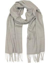 Mila Schon   Herringbone Cashmere Wool And Silk Fringed Long Scarf   Lyst