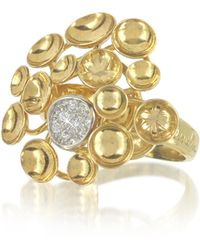 Orlando Orlandini - 18k Yellow Gold Bouquet Ring W/diamond - Lyst