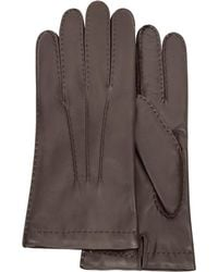 FORZIERI - Men's Cashmere Lined Dark Brown Italian Leather Gloves - Lyst