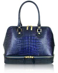 L.A.P.A. - Blue Croco Patent Leather Bowler Bag - Lyst