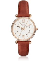 Fossil - Carlie Three Hand Terracotta Leather Women's Watch - Lyst