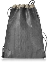 Ghibli - Python And Calf Leather Backpack - Lyst
