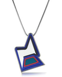 Avril8790 - Ziggy Easy Palladium Plated Brass And Multicolor Viscose Pendant Necklace - Lyst