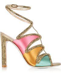 9b6afd4cb42 Rene Caovilla - Kandinsky Satin And Metallic Light Gold High Heel Sandals  W strass -