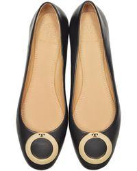 15ad892da51b Lyst - Tory Burch Crackle Metallic Leather Suede Ballet Flats in Black