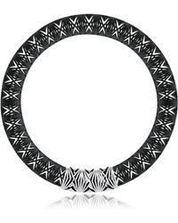 Vojd Studios - Umbala Black Chevron Flower Pendant Neckpiece - Lyst