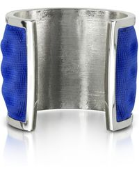 Avril8790 - Palladium Plated Brass And Electric Blue Viscose Bangle - Lyst