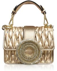 a997123ce6a5 Gedebe - Gio Small Rose Gold Leather & Crystal Handbag - Lyst