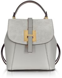 Le Parmentier | Palazia Pearl Grey Suede And Leather Small Backpack | Lyst