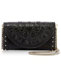 Balmain | Black Smooth Leather Continental Chain Shoulder Bag W/embossed Blazon | Lyst