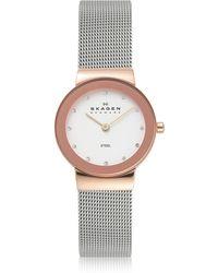 Skagen - Freja Two Tone Stainless Steel Mesh Bracelet Women's Watch - Lyst