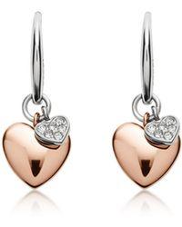 Fossil - Double Heart Two-tone Steel Earrings - Lyst