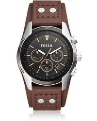 Fossil - Coachman Chronograph Brown Leather Men's Watch - Lyst