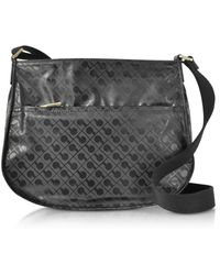 Gherardini - Signature Fabric And Leather Softy Small Shoulder Bag W/zip Front Pocket - Lyst