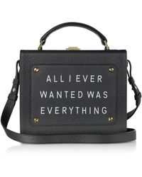 meli melo - Black Leather Art Bag W/front Text Floater - Lyst