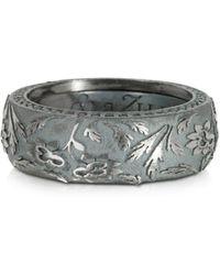 Azhar - Bassorilievo Silver And Zircon Men's Ring - Lyst