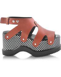 Proenza Schouler - Nappa Leather Sandal W/optical Print Wedge - Lyst