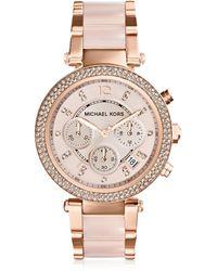 Michael Kors - Parker Pave Rose Goldtone Stainless Steel Chronograph Bracelet Watch - Lyst