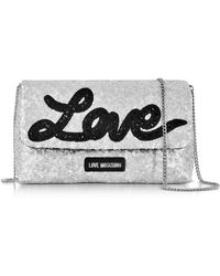 Love Moschino - Love Sequins Metallic Silver Clutch W/chain Strap - Lyst