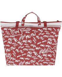 Miu Miu - Scribble Print Canvas Tote Rosso/bianco - Lyst