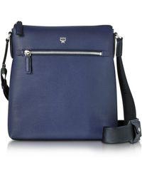 MCM - Ottomar Pistol Blue Grain Leather Small Messenger Bag - Lyst