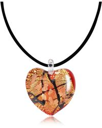 Antica Murrina - Passione - Red Gold And Black Murano Glass Heart Pendant - Lyst
