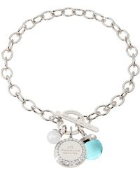 Rebecca - Hollywood Stone Rhodium Over Bronze Chain Bracelet W/hydrothermal Turquoise Stone And Glass Pearl - Lyst