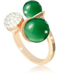 Rebecca - Boulevard Stone Yellow Gold Over Bronze Ring W/hydrothermal Green Stones And Cubic Zirconia - Lyst
