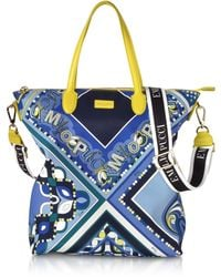 Emilio Pucci - Cobalt And Petrol Blue Printed Canvas N/s Tote Bag - Lyst