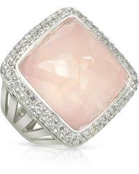 Sho London - 18k Gold V-seal Rose Quartz Victoria Ring - Lyst