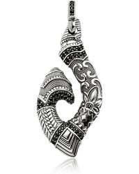 Thomas Sabo - Blackened Sterling Silver Maori Hook Pendant W/black Zirconia - Lyst